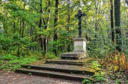 PSZCZYNA, POLAND - JULY 23, 2017: Tomb of the Prince Ludwig Anhalt Kothen in the castle park in Pszczyna, Poland.