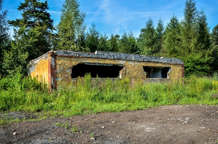 Old demolished building. An abandoned military unit building. Stock Photo