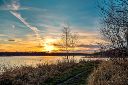 Beautiful sunset landscape. Trees on the shore of the lake with a colorful sky in the background. Stock Photo