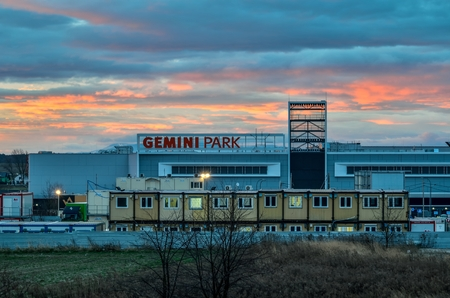 TYCHY, POLAND - DECEMBER 14, 2017: Construction of a new shopping center Gemini Park in Tychy, Poland.