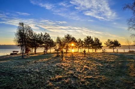 Beautiful sunny landscape. Morning sun on the lake.