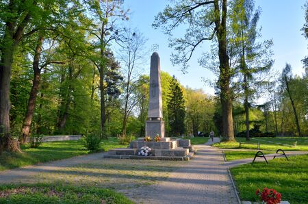 PSZCZYNA, POLAND - APRIL 22, 2018: Monument at the cemetery of Soviet soldiers in Pszczyna, Poland. Publikacyjne