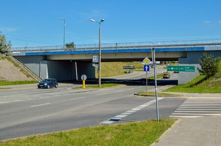 TYCHY, POLAND - MAY 6, 2018: Crossroads of streets under the main national road number 1 in Tychy, Poland.