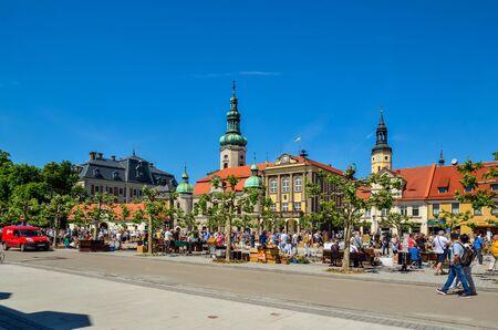 PSZCZYNA, POLAND - MAY 13, 2018: Antique market on a beautiful historic market in Pszczyna, Poland.