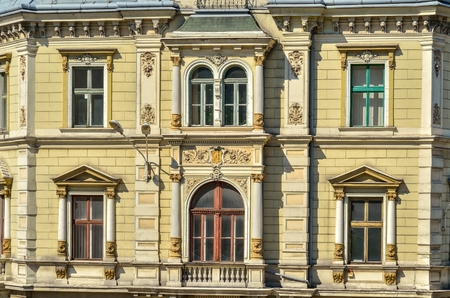 Beautiful architectural detail. Old historic facade of the municipal tenement in Bielsko-Biala, Poland.