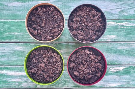 Home herb garden. Pots with fresh soil prepared for planting seeds. Stock Photo