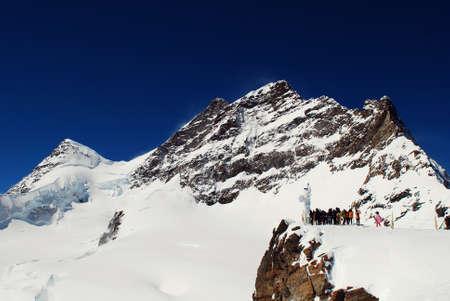 jungfraujoch: Snow Mountain of jungfrau in Swiss Stock Photo
