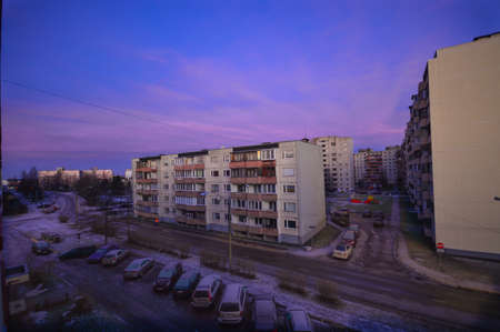 Micro district purple sky on blue background. Фото со стока