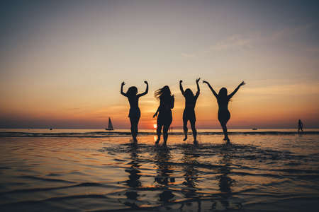 Beautiful party girls silhouette on sea. Happy people. Nature background. Entertainment party. Night background. Young people. Colorful background. Smiling girl.