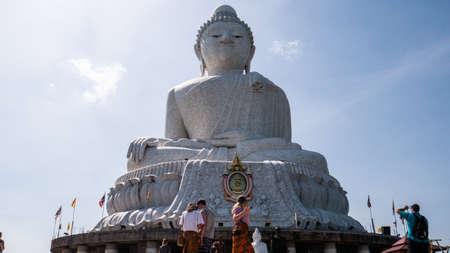 Big buddha thailand sculpture on sky background.