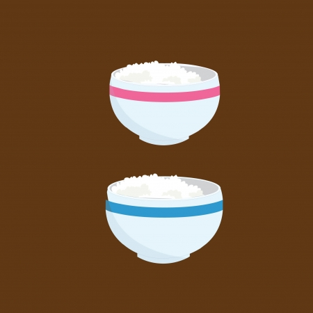 bowl of rices Vector