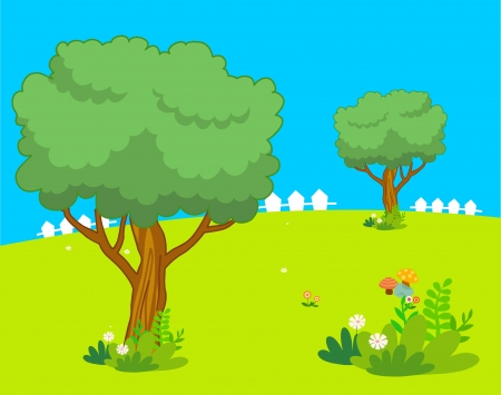 beautiful cartoon landscape with tree and flower Illustration