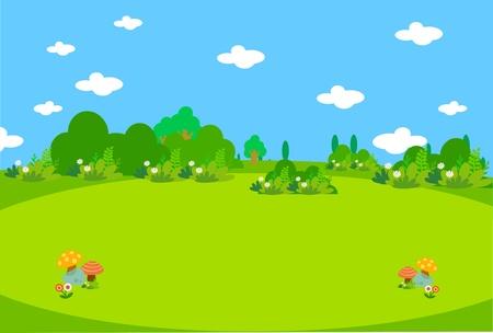 Beautiful green meadow with mushrooms Illustration