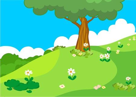 vector summer tree at green meadow