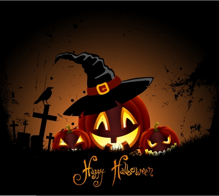 Grunge Background for Halloween Party with Pumpkin Haunted Vector