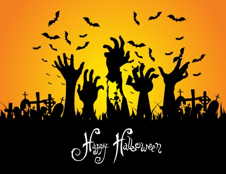 Halloween landscape with tree graveyard and name card Vector