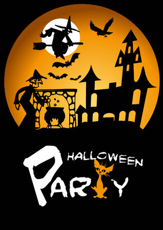 Halloween Party Graphic with Scared Cat, Flying Witch and Bats Vector