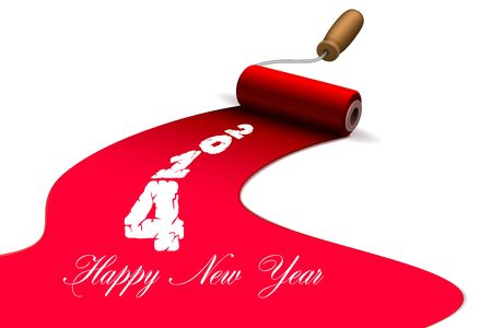 Happy new year brushes with paint Vector