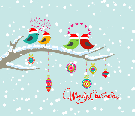christmas card with bird and gift box Vector
