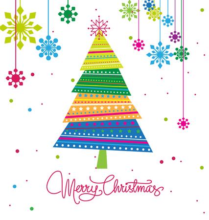 christmas tree with ornaments xmas card