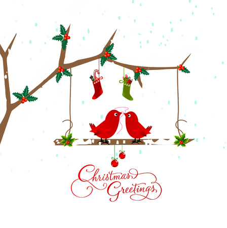 birds couple on the holly berry branch holiday greetings card Vector