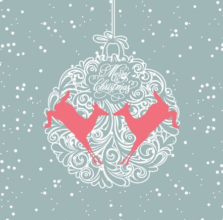 blue and white christmas ball Vector