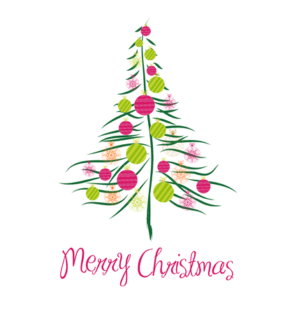 christmas card with tree Vector