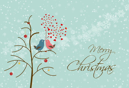 merry christmas card with many bird Vector