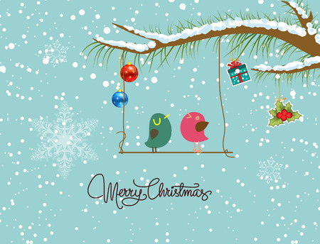 merry christmas card with two bird Vector