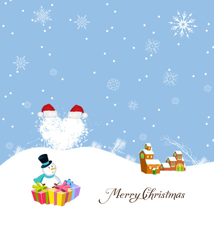 new year s santa claus: Merry christmas with snowman