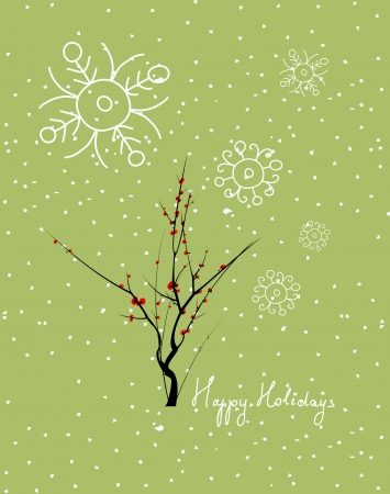 western script:  Merry Christmas with tree thankful for you Illustration
