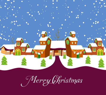 new year s santa claus: Village Holiday Card Illustration