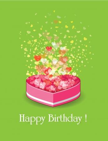 cadeau anniversaire: heureux bo�te de cadeau d'anniversaire