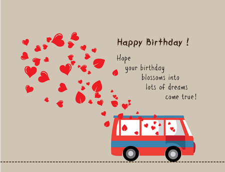 happy birthday love bus with heart Vetores