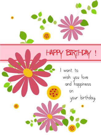 happy birthday with flowers Vector