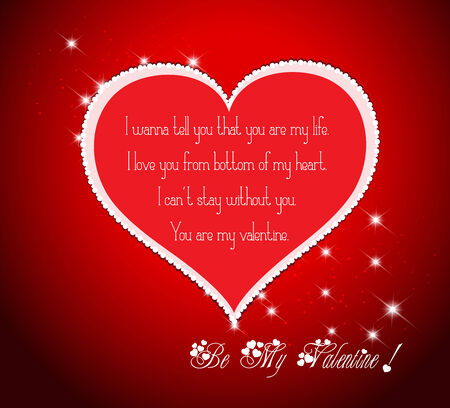 be my valentine with heart and flower Vector