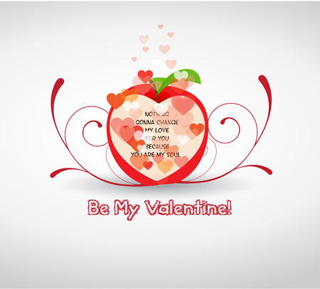 Happy valentine greetings with apple Vector