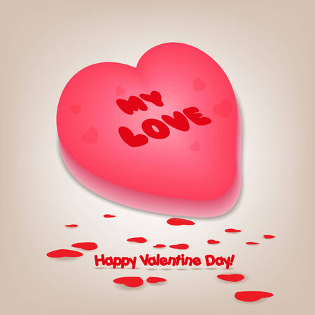 Valentine greetings with heart cake Vector