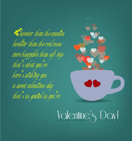 valentine heart in cup card Vector