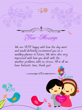 Letterhead valentines purple Vector
