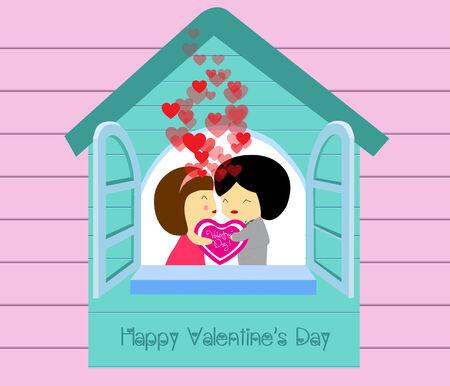 Be my valentines in house Vector