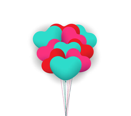 Balloon heart valentines background Vector