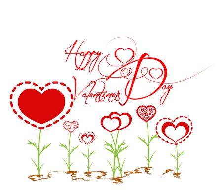 Happy valentines with heart garden Vector
