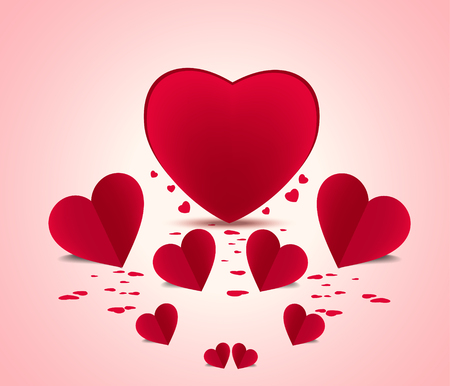 Valentine background fly heart Vector