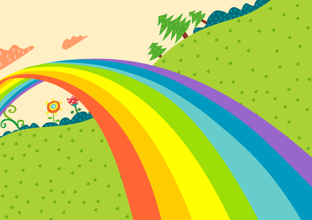 lanscape:  rainbow lanscape Illustration