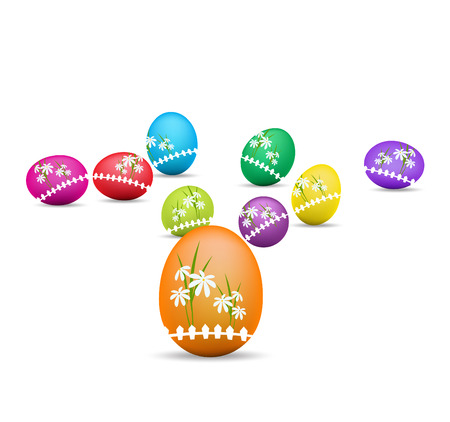Easter eggs and happy easter Vector