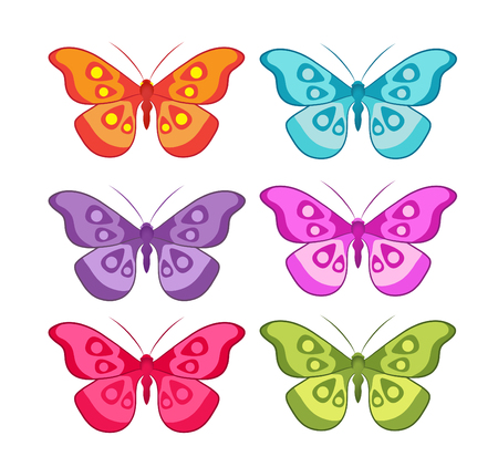 vector color set of colored butterflies Vector