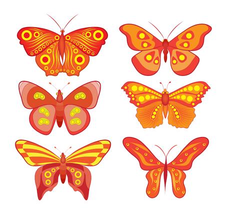 vecteur couleur ensemble de papillons colorés