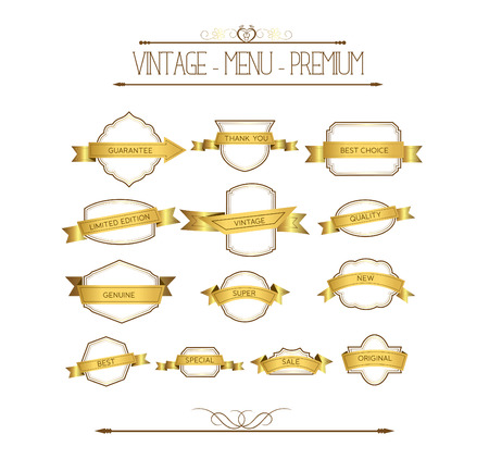 Set luxury labels and ribbons Vector