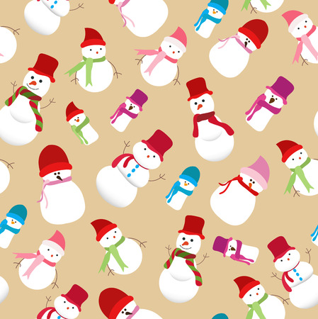 stovepipe hat: christmas snowman seamless pattern Illustration